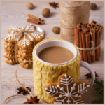 sugar cookie latte in festive mug with snowflake cookie leaning against the front and stack of snowflake cookies with ribbon and cinnamon sticks in the background