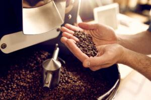 Man's hands holding fresh roasted coffee beans over a coffee roaster full of coffee beans
